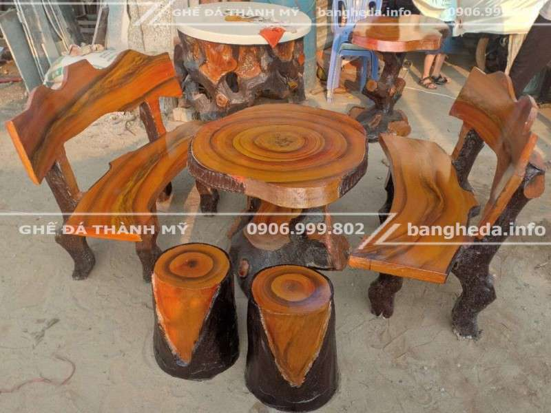 Bán Bộ bàn ghế đá giả gỗ tại xưởng ghế đá thành mỹ