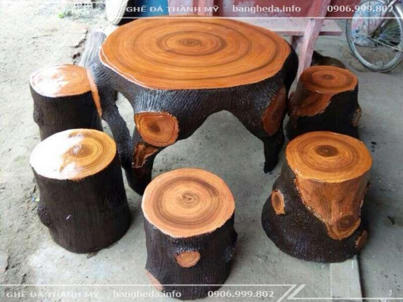 bàn ghế đá giả gỗ chất lượng tai ghế đá thành mỹ
