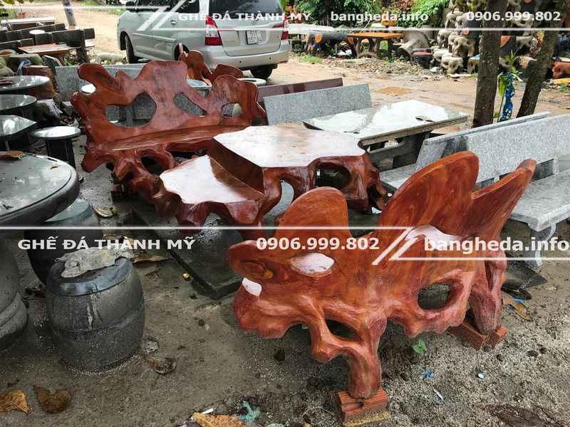 Mua ghế đá giả gỗ trang trí quán café 2